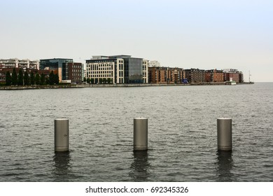 Malmo city and the Sound strait (Øresund), North Sea, Baltic Sea, Sweden. Modern architecture exterior