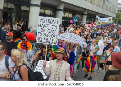 Malmo, Sweden – 06 - 08 - 2017: Participants in the Pride Parade in Sweden