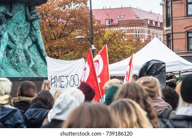 Malmo, Sweden – 22 - 10 - 2017: A demonstration against sexism under the recent MeToo hashtag in Sweden.