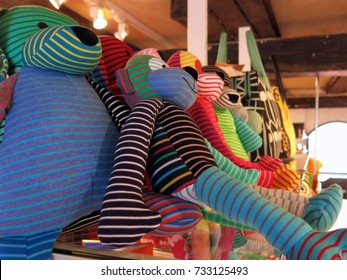 MALMO, SWEDEN – APRIL 10, 2016: Colorful stuffed animals on a shop shelf in Malmo, Sweden.