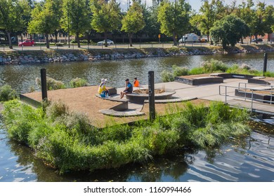 MALMO, SWEDEN - AUGUST 15, 2018: An artificial island in the Malmo Canal