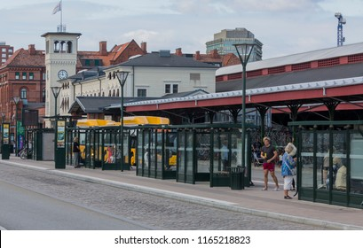 MALMO, SWEDEN - AUGUST 15, 2018: A bus stop close to the central station of Malmo for local traffic