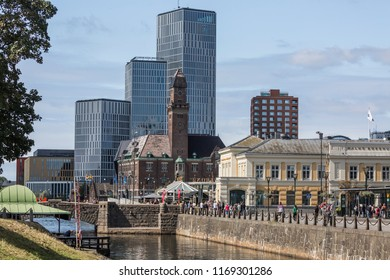 MALMO ,SWEDEN - AUGUST 15, 2018: Part of Malmo outside the Central station, with the Canal, Malmo live, new architecture, and the earlier office for the harbor, in old architecture, in the background