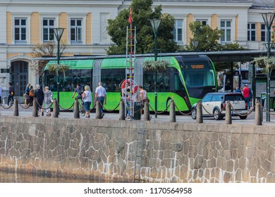 MALMO, SWEDEN - AUGUST 15, 2018: A bus stop at the canal of Malmo, close to the Central station during the summer festival.