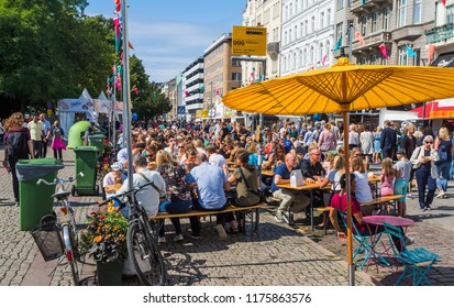 MALMO, SWEDEN - AUGUST 15, 2018: The festival of Malmo, a tradition since the eighties, with foods and entertainments from most of the countries around the world