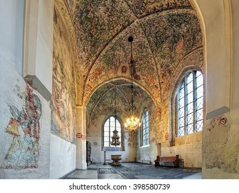 MALMO, SWEDEN - DECEMBER 13, 2015: Interior of Tradesmen's Chapel at St. Peter's Church. The chapel was constructed after 1442 and contains a great wealth of frescoes from the late Middle Ages.