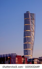MALMO, SWEDEN - FEBRUARY 17, 2018: Turning Torso, the largest building in Scandinavia, in morning light
