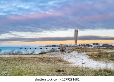 MALMO, SWEDEN - FEBRUARY 17, 2018: Turning Torso Building in West Harbour area in Malmo, Sweden. The tower is beside theOredund bridgethe new landmark of Malmo.