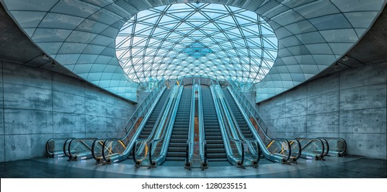 MALMO, SWEDEN - JANUARY 05, 2019: The escalators at triangeln station in Malmo, Sweden.