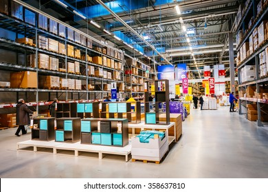 MALMO, SWEDEN - JANUARY 2, 2015: Interior of large IKEA storehouse with a wide range of products in Malmo, Sweden. Ikea was founded in Sweden in 1943, Ikea is the world's largest furniture retailer.