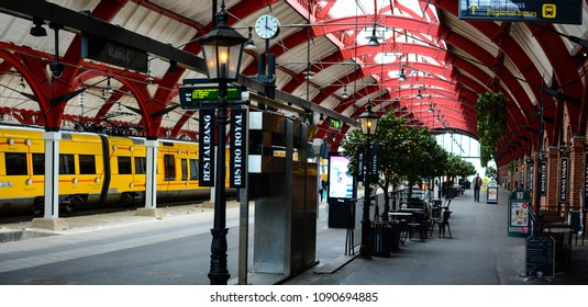 Malmo, Sweden - July 25, 2017: Central Station Malmo C, Central Railway Station in Swedish city Malmo. Platforms of Central train Station