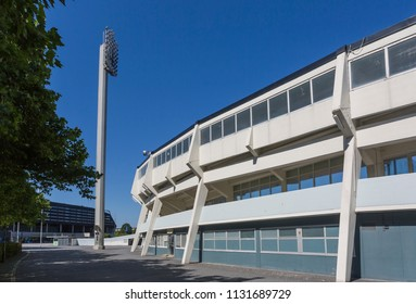 MALMO, SWEDEN - JULY 4, 2018: The Malmo stadium, an athletic arena in use since year 1958. Architect, Sten Samuelsson.