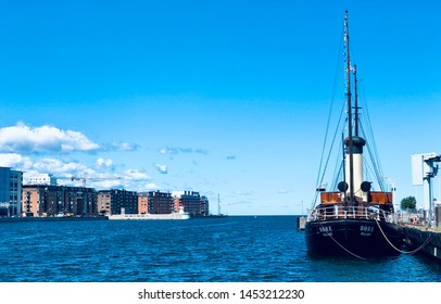 MALMO, SWEDEN - July 5, 2019: The old steam icebreaker S/S Bore. It was built in 1894 and in used until 1968. The steamship Bore stays at dock