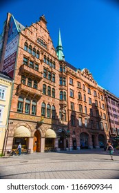 MALMO, SWEDEN - June 2018: Malmo cityscape on sunny day. Historical houses in Malmo downtown, Sweden