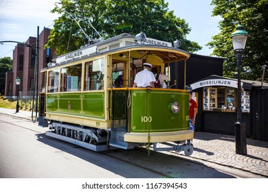 MALMO, SWEDEN - June 2018: Historical retro tram on the street of Malmo downtown, Sweden