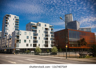 MALMO, SWEDEN - June 2018: Modern houses in Malmo downtown on sunny day, Sweden