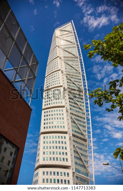 MALMO, SWEDEN - June 2018: Turning Torso skyscraper in Malmo city, the highest building in Sweden