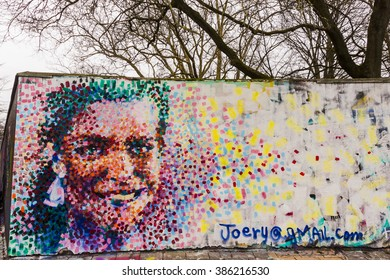 MALMO, SWEDEN - MARCH 03, 2016: The winner of an Oscar award 2016, Alicia Vikander Sweden, on a wall painting in Malmo by the Dominican artist Joery Santos Gomez