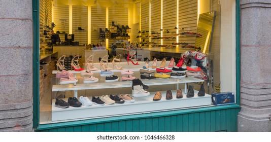 MALMO, SWEDEN - MARCH 07, 2018:  A shop window in a shoe store in Malmo city