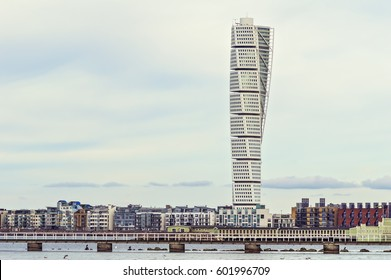 MALMO, SWEDEN - March 12. 2017. The west harbor area with the Turning Torso on March 12, 2017 in Malmo, Sweden. Malmo is the capital city in Skane county, also the third largest city in Sweden.