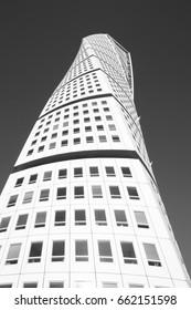MALMO, SWEDEN - MARCH 8, 2011: Turning Torso skyscraper on March 8, 2011 in Malmo, Sweden. Designed by Santiago Calatrava, it is the most recognized landmark of Malmo today.