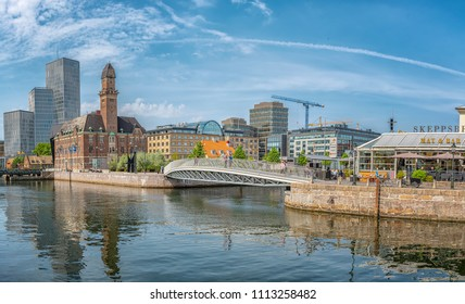 MALMO, SWEDEN - MAY 18, 2018: Cityscape of old and new architecture in Malmo, Sweden. After Stockholm and Gothenburg, Malmo is the 3rd most visited city in Sweden.