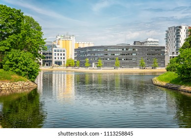 MALMO, SWEDEN - MAY 18, 2018: The distinctive 'teardrop' form of the new courthouse building reflects the contours of the site and responds its surroundings – water and green spaces.