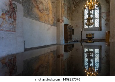 Malmo, Sweden - May 19, 2019:  Interior of Tradesmen's Chapel at St. Peter's Church. The chapel was constructed after 1442 and contains a great wealth of frescoes from the late Middle Ages