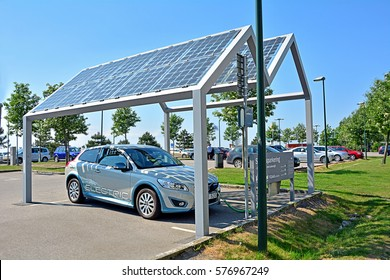 MALMO, SWEDEN - MAY 25 - Electric car, part of the car-sharing system, standing at solar powered charge station (photovoltaics) on May 25, 2016 in Malmo, Sweden