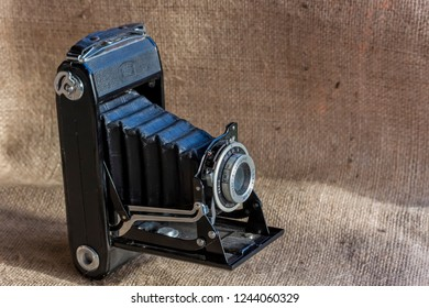 MALMO, SWEDEN - NOVEMBER 27, 2018: Close up of an old Carl Zeiss camera
