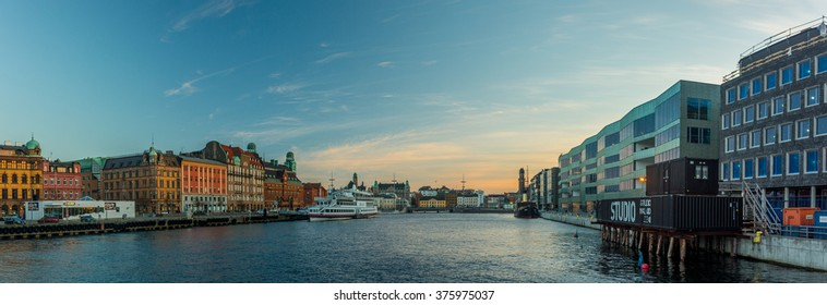 MALMO, SWEDEN - NOVEMBER 8, 2015: panoramic view of Malmo at sunset, Sweden