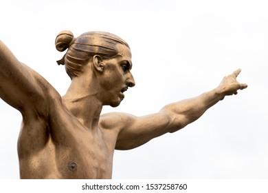 Malmo, Sweden - October 19, 2019:  Close up of bronze statue of Swedish professional footballer Zlatan Ibrahimovic