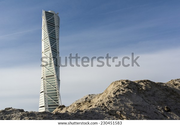 MALMO, SWEDEN - OCTOBER 26: Famous Turning Torso skyscraper in Malmo, Sweden on October 26, 2014. It was designed by the architect Santiago Calatrava and opened in 2005.