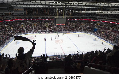 MALMO, SWEDEN-FEBRUARY 20, 2008: panoramic view of the hockey arena, in Malmo.