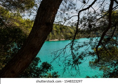 Malo Jezero turquoise bright colored saltwater lakes at the National Park on the island Mljet, Croatia. Mediterranean coast with a tree and greenery creating a calm scene, UNESCO protected