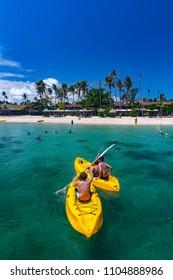 Malolo, Fiji - MARCH 8, 2013: People who enjoy water sports on the island of Fiji