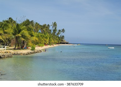 MALOLO LAILAI, FIJI - MARCH 15: Unidentified people and palm trees on beach of south sea in Plantation Island resort on tiny island, on March 15, 2005 in Malolo Lailai, Fiji