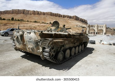 Ma'loula, Syria - September 18: Infantry fighting vehicle of the Syrian National Army near the entry to Ma'loula town during Syrian civil war on September 18, 2013 in Ma'loula, Syria