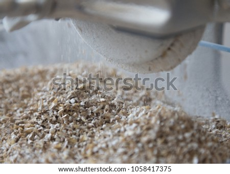 Malt Being Grinded Homebrewing Conditions Small Stock Photo