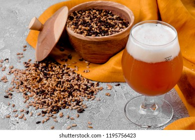 Malt grain and a glass of beer. Mixed varieties of malted grain on a gray background. close-up. top view. flat lay. series of photos. space
