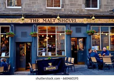 Malt shovel Scottish pub off the Royal Mile, Edinburgh. June 2017
