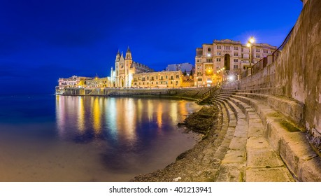 Malta - Balluta bay at blue hour
