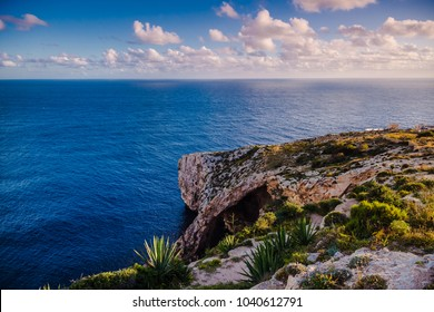 Malta, Blue grotto. The most beautiful sunset and rock formations.