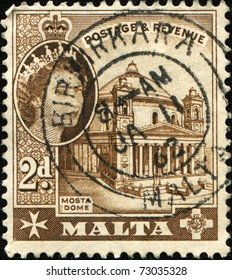 MALTA - CIRCA 1956: A stamp printed in Malta shows Mosta Dome, circa 1956