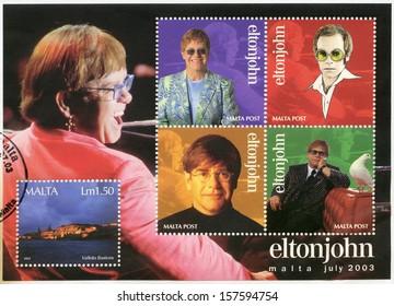 MALTA - CIRCA 2003: A stamp printed in Malta shows Elton John Hercules (Reginald Kenneth Dwight) a singer, circa 2003