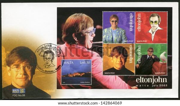 MALTA - CIRCA 2003: A stamp printed in Malta shows Elton John Hercules, Reginald Kenneth Dwight, a singer, circa 2003