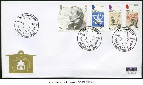 MALTA - CIRCA 2005: A stamp printed in Malta shows Hans Christian Andersen (1805-1875), a writer, circa 2005
