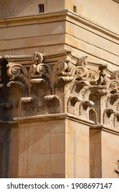 Malta, columns of a historic building with plant-based capitals