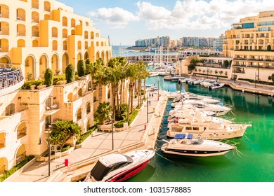Malta December 2017, harbor with luxury hotels and yachts and appartment at the capital of Malta,St Julian