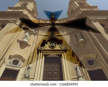 Malta Double Exposure A, Maltese Cross Blended with Baroque Church Facade Art photography